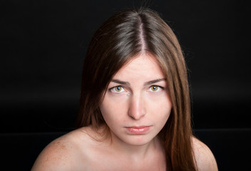 attractive woman with tears on her face