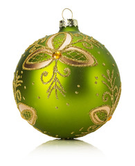 green Christmas ball isolated on the white background