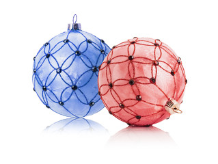 red and blue Christmas balls isolated on the white background