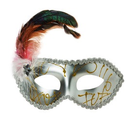 silver carnival mask on the white background