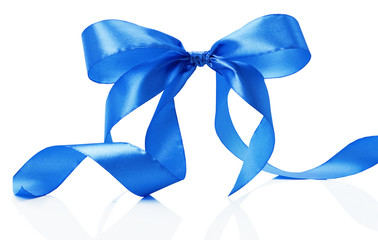 blue bow isolated on the white background