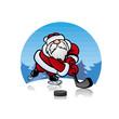 Дед Мороз Santa Claus  играет в хоккей