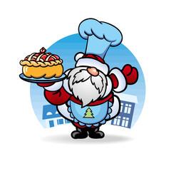 Дед Мороз Santa Claus кулинар приготовил пирог