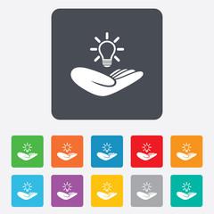 Idea insurance sign. Hand holds lamp bulb symbol