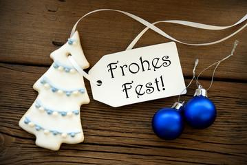 Weihnachtlicher Hintergrund mit Aufschrift Frohes Fest