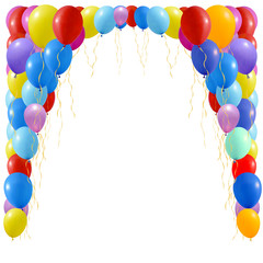 An illustration of a set of colourful balloons