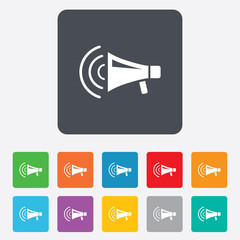 Megaphone sign icon. Loudspeaker strike symbol.