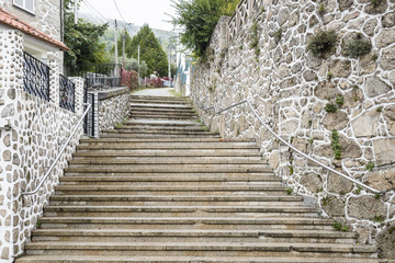 a street with stairs in Manteigas town - Portugal