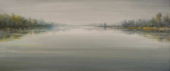 River in foggy day painted by oil on canvas.