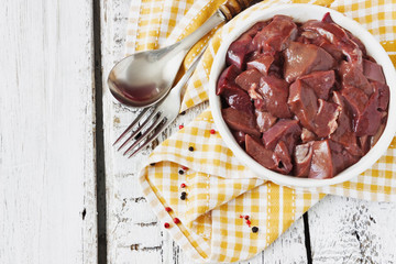 pork liver in a bowl