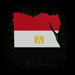 Egypt map flag on hex code illustration
