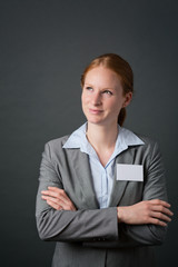 Business Person with Blank Name Tag