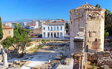 Ruins of a tower, Tower of the Winds, Athens, Greece