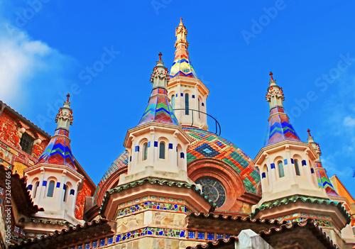 Leinwanddruck Bild Parish Church of Sant Roma. Lloret de Mar, Costa Brava, Spain