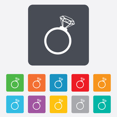 Ring sign icon. Jewelry with diamond symbol.