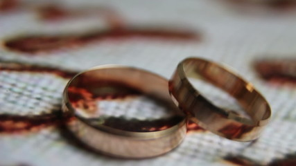 Spinning wedding rings close-up