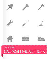 Vector black construction icon set