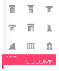 Vector black column icon set