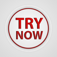 Try now circular icon on white background