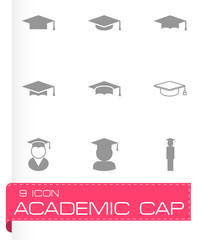 Vector black academic cap icon set