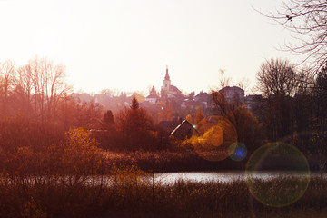 View of the town of Hradec Kralove in the fall