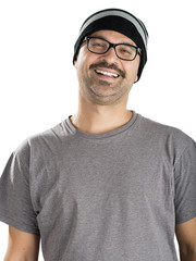 Adult man with mustache wearing beanie isolated.