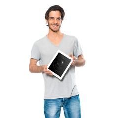 Mann mit defektem Tabletcomputer