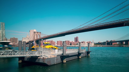 water taxi dock brooklyn bridge 4k time lapse from nyc