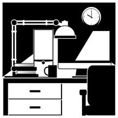 desktop workstation black and white
