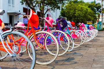 Colorful bicycles for rent in Jakarta, Indonesia