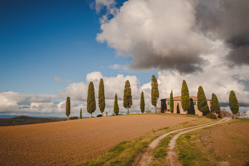 Classic house with cypress trees in Tuscany