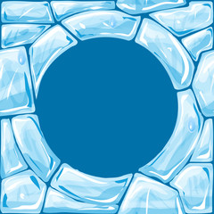 Round frame on blue Ice seamless pattern