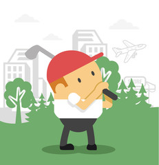 Man plays golf. Vector flat illustration