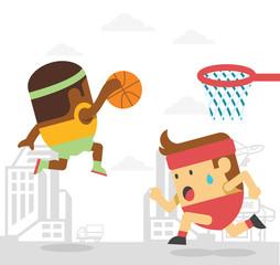 Men playing basketball. Vector flat illustration