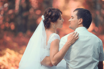 wedding portrait autumn nature