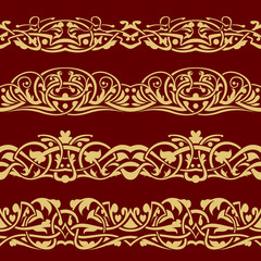 Gold floral seamless border