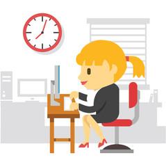 Office work woman. Vector flat illustration