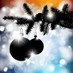 Vector silhouette of a Christmas tree with bulbs