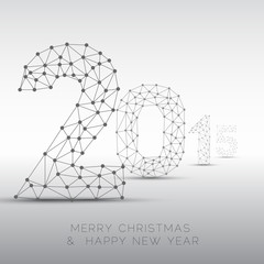 Low poly Happy New Year 2015 vector card