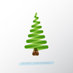Simple vector christmas tree made from one line