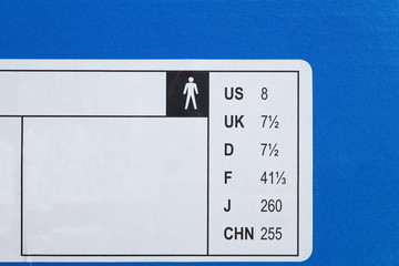 Close - up shoes international size on shoes box