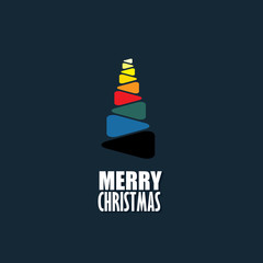 abstract xmas tree icon made of colorful triangles - concept vec