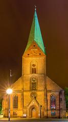 Night view of St. Nikolai Church in Kiel, Germany