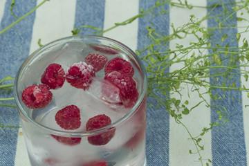 water ice frozen raspberries