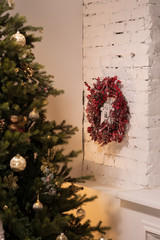 Christmas tree. Rustic interior design