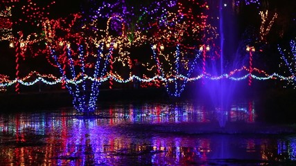 Christmas Fountain Light Display