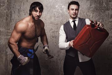 Two men fight