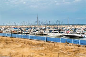Yachts in the harbor of Ashkelon, Mediterranean Sea