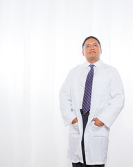 Professional Hispanic Male Wearing Lab Coat