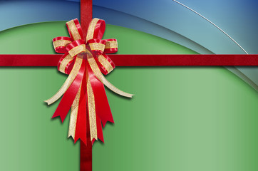 Red Ribbon on Abstract Multicolour  for background